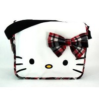 Licensed Hello Kitty Messenger Bag / Shoulder Bag - CHECK RIBBON