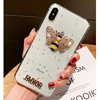 Dior Fashion New Letter Diamond Bee Women Men Shining Protective Cover Phone Case