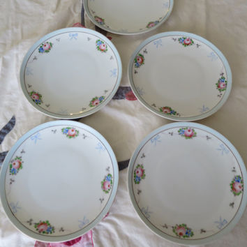 5 Nippon Bread/Dessert Plates Pink Roses Blue Border w/ Bows Swags on White ca 1900's Hand Painted Porcelain Plates 8.5 inches