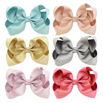1piece Beauty Colorful 4 Inch Grosgrain Ribbon hair Bows Accessories With Clip Boutique Bow Hairpins Hair Ornaments 757