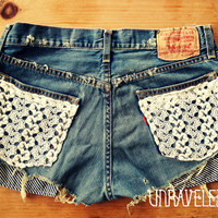 Levis Denim Shorts Lace Pockets Size MEDIUM by UnraveledClothing