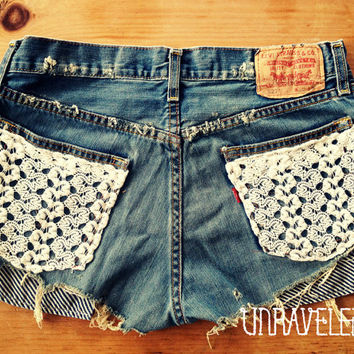 Levis Denim Shorts Lace Pockets