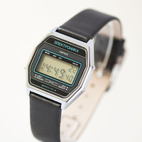 Vintage LCD watch Elektronika Signal men's wristwatch electronic, unisex watch digital 80s, grey watch digital, genuine leather strap new