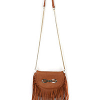 Brown Bowtie Tassel Embellished PU Chain Satchel Bag