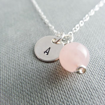 Rose Quartz necklace,  initial necklace, custom silver, dainty silver necklace, bridesmaid necklace, silver letter necklace, personalised g