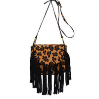 Yellow Leopard Edge Tassel Mini Shoulder Bag