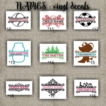 FAMILY NAMES vinyl decals | last name | initial | decal | sticker | car decals | car stickers | laptop sticker - 10-18