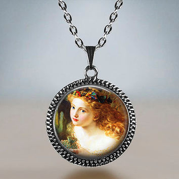 Vintage dreamy Fairy young girl woman Resin pendant Antique silver bronze gift for him for her gift