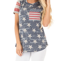 Polychrome American Flag Short Sleeve T-shirt