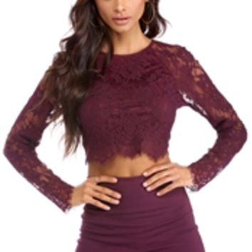 Burgundy Lace In Love Crop Top