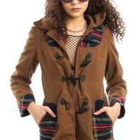 Vintage 70's Plaid Hooded Jacket - XS