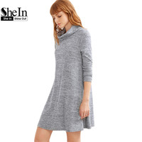 SheIn Women Autumn Dress Long Sleeve Womens Clothing Fall T shirt Dress Grey Marled Knit Cowl Neck A Line Basic Dress
