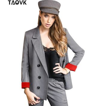 TAOVK Business Women Plaid Blazers and Double Breasted Female Blazer Coat 2 Piece suit Jackets Work Office Lady Suit Slim pants