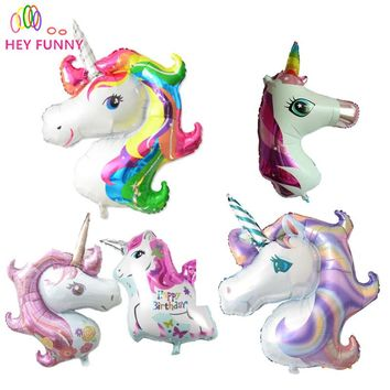 1pcs 39inch Cartoon Unicorn Balloon Aluminum Foil Party Balloons for Birthday Children's Day Decoration Gift