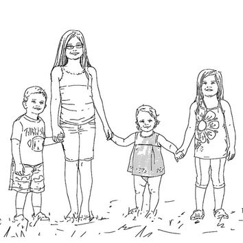 Large family portrait Additional figure Made to order Original portraits from photos Children Art Commission Line Drawing Last minute gift