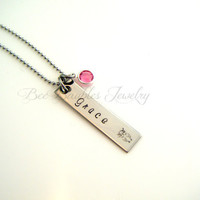 Hand Stamped Jewelry Name and Birthstone Personalized Necklace