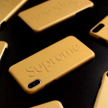 DCCKN6V Supreme Fashion cortical silica gel phone case Logo iPhone 6 s mobile phone shell iPhone 7 plus shell Yellow G