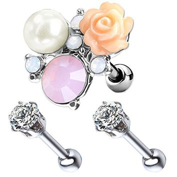 BodyJ4You 3PCS Tragus Piercing Flower CZ Stud Earring Ball 16G Surgical Steel Helix Ear Barbell Set