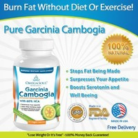 Garcinia Cambogia Extract - 1600 mg Servings (only 2 capsules/day)- Pure 100 % Natural GMO Free Effective Appetite Suppressant and Weight Loss Supplement from Omega Soul (60 capsules)