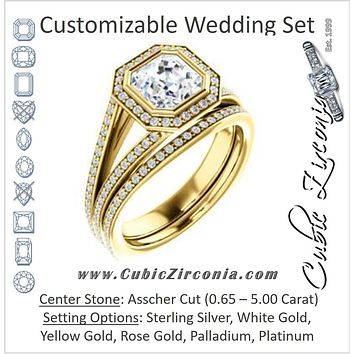 CZ Wedding Set, featuring The Maritza engagement ring (Customizable Bezel-Halo Asscher Cut Style with Pavé Split Band & Euro Shank)