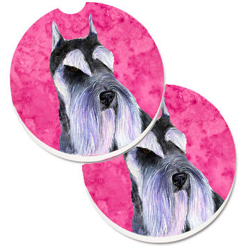 Pink Schnauzer Set of 2 Cup Holder Car Coasters SS4753-PKCARC
