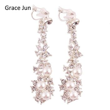 Grace Jun High Quality Long Rhinestone Simulated Pearl Clip on Earrings Without Piercing for Women Party Weddng Luxury Ear Clip