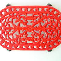 Vintage Red Painted Steel Coaster - Metal