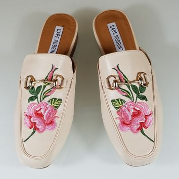 CR Nude Almond Toe Flats Mules Clog Embroidered Rose Design Slippers