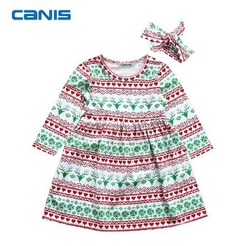 Xmas Cute Cotton Toddler Kids Baby Girl Christmas Costume Long Sleeve Tutu Dress Headband Outfits Fashion design Dress