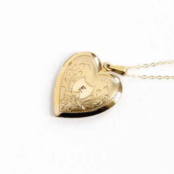 """Vintage 12k Gold Filled Floral Heart Initial """"E"""" Locket Necklace - 1930s 1940s WWII Era Sweetheart Etched Flower Monogrammed Jewelry"""
