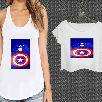 captain america design For Woman Tank Top , Man Tank Top / Crop Shirt, Sexy Shirt,Cropped Shirt,Crop Tshirt Women,Crop Shirt Women S, M, L, XL, 2XL*NP*