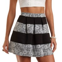 Striped Floral Jacquard Skater Skirt by Charlotte Russe