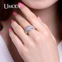 UMODE Classic Sparkling Rings Pave CZ Stones Wedding Band Retro Ring Jewelry for Women Valentine's Day Gift Anel Feminino UR0330