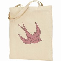 Apericots Cute Sailor Chic Pink Swallow Tattoo Inspired Design on Canvas Tote