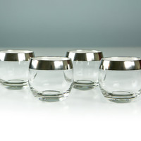MINT - Mid-Century Modern Dorothy Thorpe Silver Band Roly Poly Glasses, Excellent Condition, Set of Four, Mad Men Style Tumblers