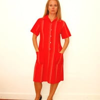 Simple Short Sleeve Retro Home Dress Red Dress With White Stripes, With Pockets, Vintage Cotton Dress With Buttons, Red Stripes