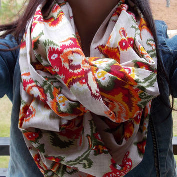 Vintage look ikat infinity scarf by OllasCreations on Etsy