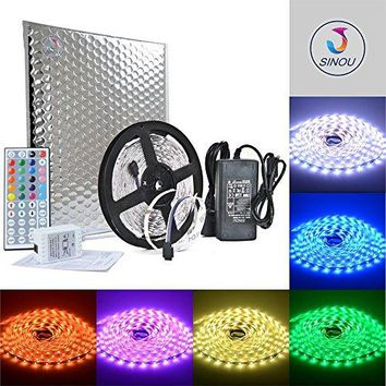 SINOU Led Strip Lights Kit SMD 5050 32.8 Ft (10M) 300leds RGB 30leds/m with 44 keys IR Controller and Power Supply for Trucks Boats Kicthen Bedroom and Sitting Room
