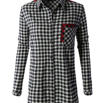 LE3NO Womens Oversized Long Sleeve Plaid Boyfriend Shirt with Pockets