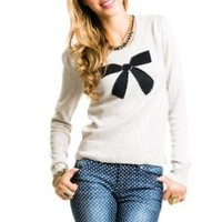 Bow Knit Sweater in Light Grey