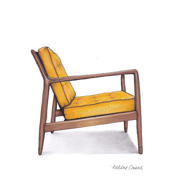 Mid Century Modern Danish Teak Chair Drawing,  Mustard Yellow - 8x10