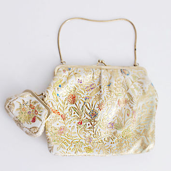 50's Asian Bag - Embossed White Leather, Hand Painted, Water Color Garden Purse Set