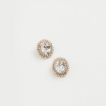 Cassandra Gold Oval Crystal Earrings
