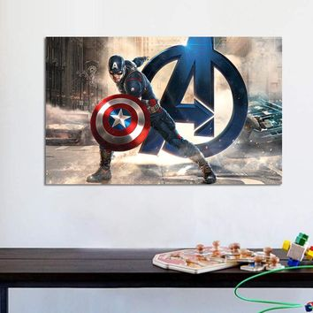 Captain America Movie Poster, Avengers Marvel Wall Poster, Canvas Fabric Art Prints, Comics Picture, Bedroom Boy Room Decoration