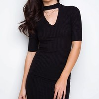 Soul Mate Ribbed Dress - Black