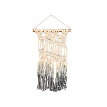 Macramé Mini Dip Boho Wall Art in Grey Ombre