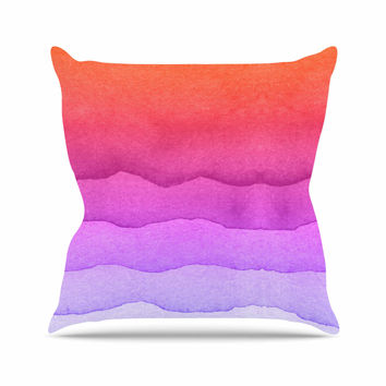 "Kess Original ""Ombre Sunset"" Coral Abstract Outdoor Throw Pillow"