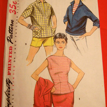 1950s Fitted Blouse & Pullover Shirt Pattern Simplicity 1172 Sz16 Bust 34 Bateau Neckline Sleeveless