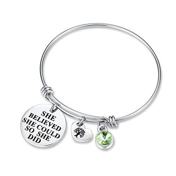 She Believed She Could So She Did Birthday Gifts Bracelet with Birthstone and Heart Tree of Life