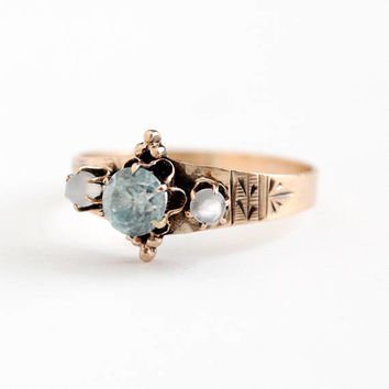 Antique Victorian Era 8k Rose Gold Blue Zircon & Moonstone Gem Ring - Vintage Size 7 3/4 Light Blue and White Three Gemstone Fine Jewelry
